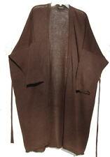 """Eskandar DARK BROWN Fine Gauge Linen Knit 40"""" Long Cardigan w/Belt O/S $1290"""
