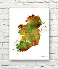 IRELAND MAP Contemporary 11 x 14 Watercolor Abstract ART Print by Artist DJR