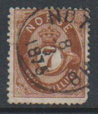 Norway - 1871/5, 7sk Brown stamp - Used - SG 45 or 46