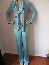 NEW ST JOHN KNIT COUTURE SIZE 12 WOMEN POOL BLUE SATIN SHIMMER PANT SUIT JACKET
