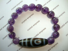 FENG SHUI - 2 EYE DZI WITH 10MM FACETED AMETHYST