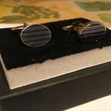 BRAND NEW - OVAL SHAPED GREEN/PURPLE STRIPED CUFFLINKS IN GIFT BOX