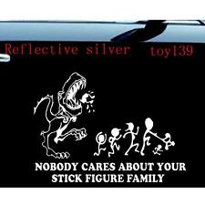 nobody cares about your stick figure family car decal sticker/ reflective silver