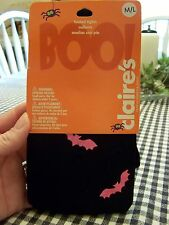 Claire's Halloween  Footed Tights Black With Pink Bats Size Medium / Large