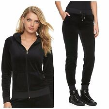 NWT Juicy Couture Velour Track suit Women Black Solid Jacket Jogger Pants Medium