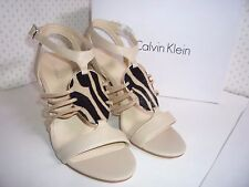 "Calvin Klein  Women's Oatmeal Ankle Strap Open Toe 4"" Wedge Shoes, size 8 NEW"