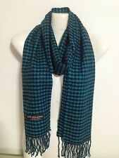 100% CASHMERE SCARF MADE IN SCOTLAND HOUNDSTOOTH DESIGN SUPER SOFT UNISEX