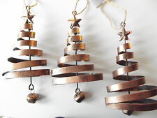 3 Bronzed Spiral Metal Christmas Tree Decorations Star Bell & Jute Hanger Xmas