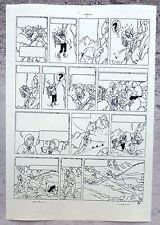 Hergé Tintin au Tibet Copie de Bleu d'imprimerie Planche 42 inédite A4 Superbe !