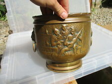 Antique Brass Planter Tub Planter Pot Raised Pub Scene Band Vintage Old Lions