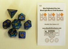 Metallic Dice Games Miniature 7 Dice Set Blue/Light Blue w/ Gold LIC422