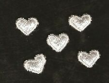 Large Lot of 25 White Embroidered Heart Appliques - EMB-9 - NEW - Scrapbooking