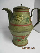 Antique Toleware Coffee Pot, Painted Flowers and Strawberrys ca Early 1800's