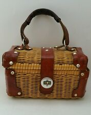 Vintage HANDMADE Natural Wicker Straw & Leather Handbag Purse Small Basket CUTE!