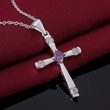 Ladies High Quality 925 Sterling Silver Cross Crystal Necklace Pendant Gift