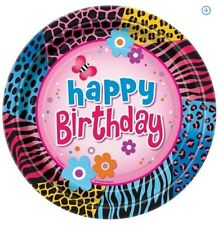"""Wild Birthday"" Party Supplies Large PLATES  (Animal Print,Flowers,Butterflies)"