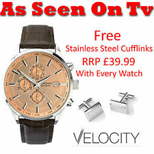 Sekonda Velocity Gents Rose Gold Dial Brown Leather Strap Watch 1105 RRP £69.99