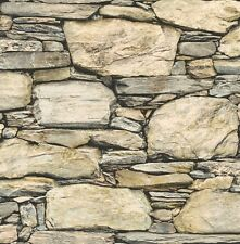 Natural Old Cream Slate Stone Brick Wall Feature Wallpaper FD40942 Fine Decor