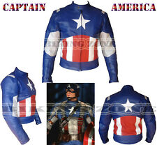 CAPTAIN AMERICA STYLE MENS BLUE MOTORBIKE / MOTORCYCLE LEATHER JACKET