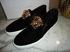 Authentic Mens Versace Black Velvet Palazzo Sneaker Shoes Gold Medusa Head 44 11