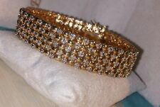 Ross Simons 18k yellow gold/Sterling silver 5 row wide tennis diamond bracelet