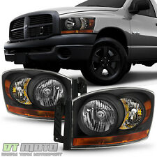 Black 2006-2008 Dodge Ram Headlights Lights w/Black Bezel Left+Right Aftermarket