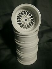 1/10th scale mesh style deep dish Rc drift rims/wheels white 9mm offset (4pcs)