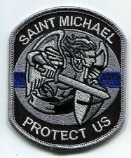 Saint Michael Protect Us Thin Blue Line Patch - HOOK & LOOP // Police // Sheriff