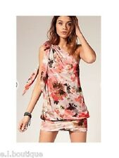 Miss Sixty one shoulder Toots mini dress peach XS 6 8 BNWT WEDDING HOLIDAY