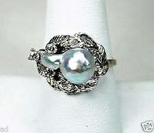 Vintage Estate 14K White Gold Ring Natural Blue Gray Baroque Pearl + 3 Diamonds