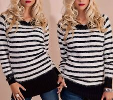 Gilet long pull bandes peluche pull 34/36/38 noir blanc top