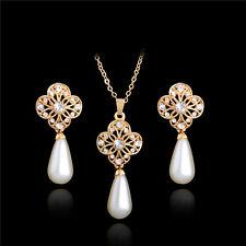 Women Jewelry Set Crystal Rhinestone Pearl Flower Pendant Necklace Earrings