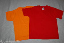 Boys Tee Shirt LOT OF TWO Heavy Weight RED & ORANGE Solid Colors M 10-12