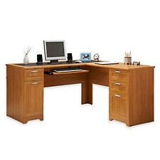 NEW L-Shaped Office DESK (Computer Executive Corner Wood Table Maple) FREE S&H
