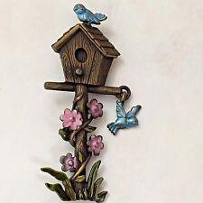 Birdhouse Pin Brooch JJ Jonette Jewelry Bluebird Flower Silver Pewter Finish VTG