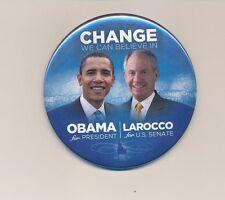"""2008 Obama for president & LaRocco U.S. Senate 3"""" cello Idaho ID campaign button"""
