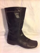 Faith Black Mid Calf Leather Boots Size 4