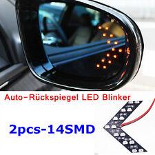2 x Gelbes Licht Auto-Rückspiegel LED Blinker Pfeil 14 SMD Lampen Gelb Farbe Neu
