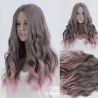 New Gray+Pink Curly Wave Hair Full Long Wigs Cosplay Lolita Weave Lace Cap Wig