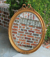 Antique French OVAL Gilt Wood Framed BEVELED Wall Mirror Baroque Rococo Style