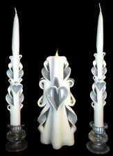 Set of 3 HEART White and Silver hand-carved wedding unity candles- Ready To Ship