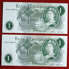 Uncircluated (NM) Coppia di J S Fforde £ 1 Note-n75j 465728 & n75j 465731