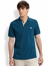 Burberry Brit Men Casual Short Sleeve Nova Mens Polo Shirt Regatta Blue Medium M