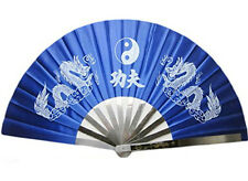 Japanese Iron Hand fan Tessen Dragon Patttern kung fu Blue Use at Tai chi