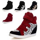 Women's Boos High Top Wedge Heel Tennis Flats Shoes Velcro Sneakers Black+Yellow