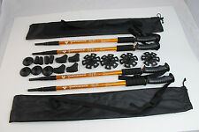 Four Trekking Walking Hiking Sticks Poles Alpenstock anti-shock Snowshoe Gold