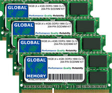16GB (4x4GB) DDR3 1866MHz PC3-14900 204-PIN SODIMM MEMORY RAM KIT FOR LAPTOPS