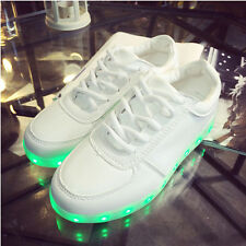 Men Lady Boy Girls USB Charger Luminous LED Lights Lace UP Casual Sneakers Shoes