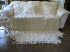 Antique Textile Aran Knit Crochet Ecru Coverlet Blanket Bedspread 88x64 MINT