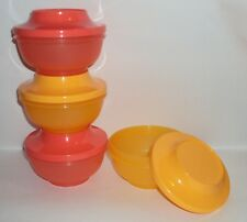 New TUPPERWARE Oriental Rice Bowls Stacking Bowl Set with Seals Orange Guava